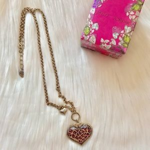 Betsey Johnson pink heart leopard print necklace